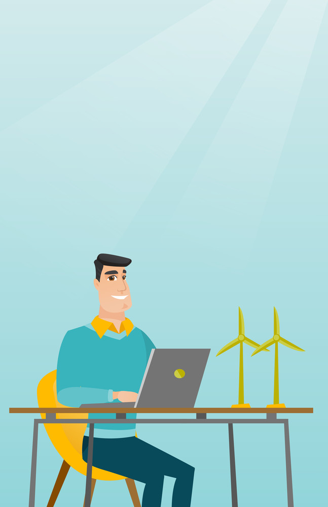 Happy caucasian worker of wind farm working on a laptop. Engineer projecting wind turbine in office. Engineer working on a model of the wind turbine. Vector flat design illustration. Vertical layout.