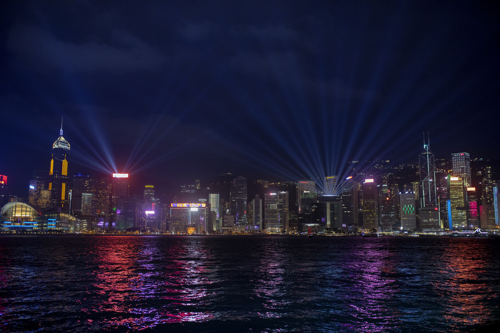 hong kong - china - march16,2019 : beautiful lighting at night in victoria harbour hong kong one of most popular traveling destination in kowloon district