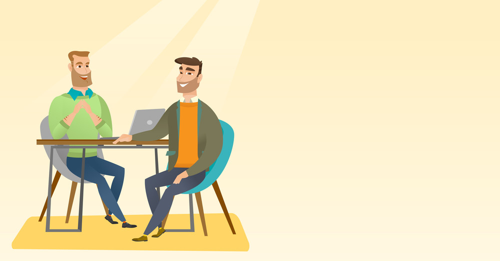 Human resource manager talking with job applicant. Job applicant during job interview for the position. Job interview concept. Vector flat design illustration. Horizontal layout.