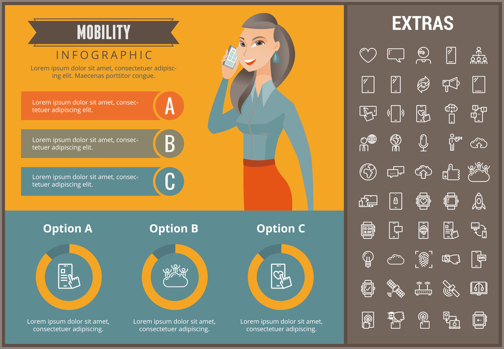 Mobility infographic template, elements and icons. Infograph includes customizable graphs, charts, line icon set with mobile technology, smartphone application, cloud computing, network connection etc