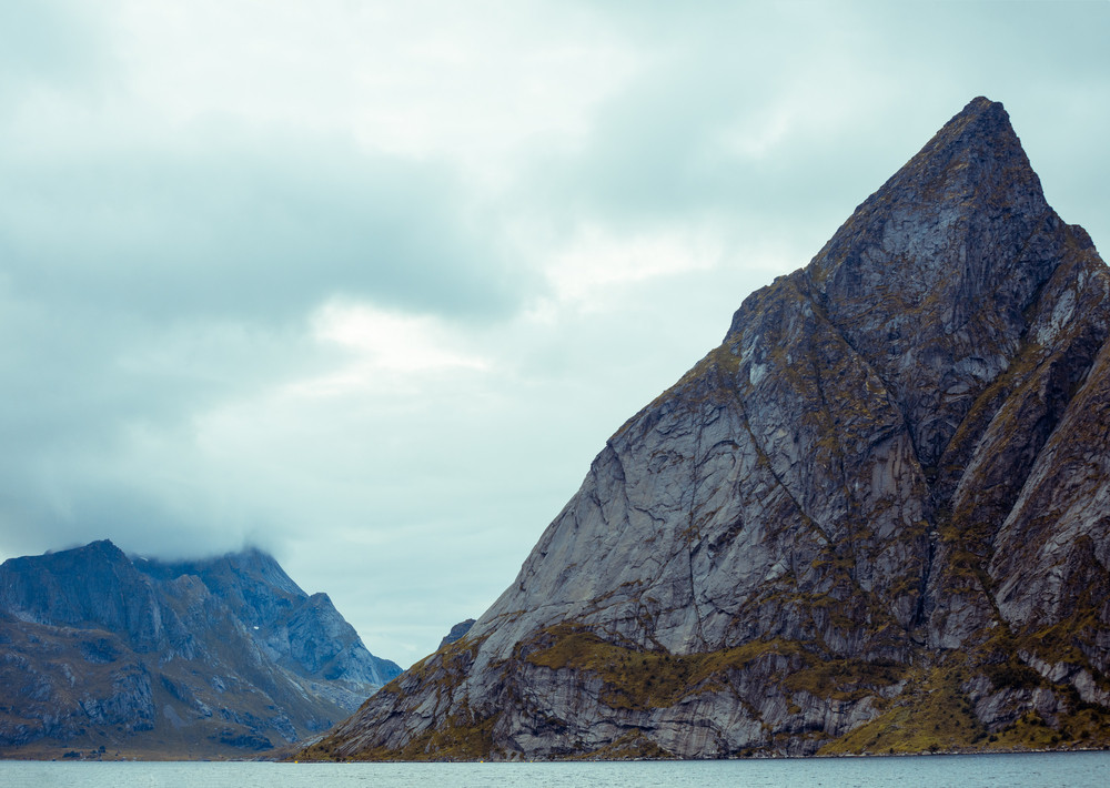 Mountains above fjord landscape, Reine, Norway