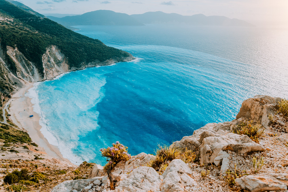Myrtos Beach, Kefalonia Island, the most beautiful beaches in the world and the Mediterranean, Greece, Ionian Sea. Must see place miracle of nature