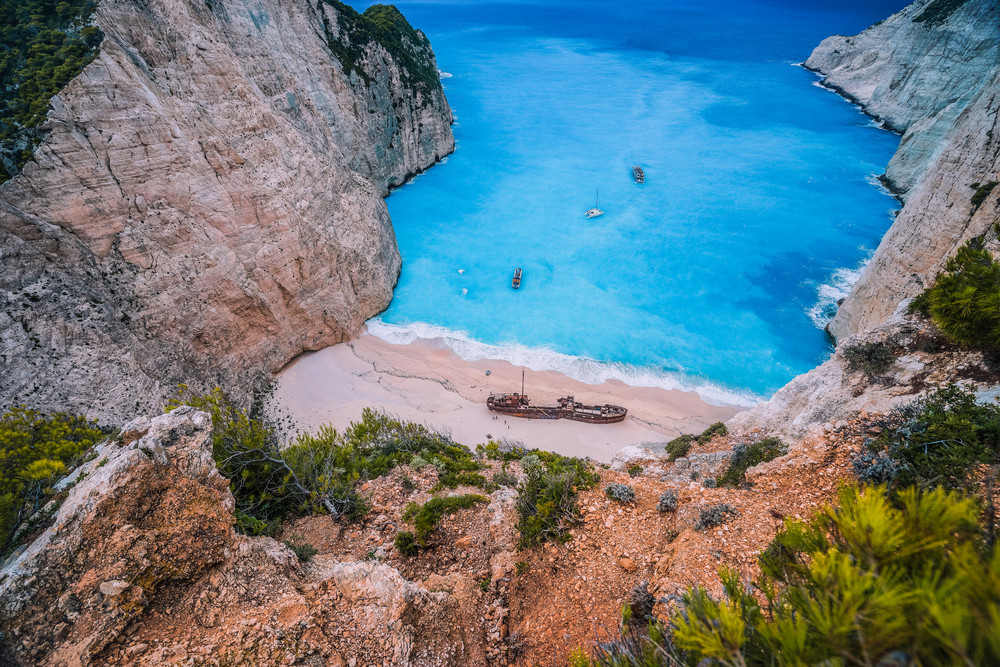 Navagio Shipwreck Beach on Zakynthos island, Greece. Famous attraction landmark must-see place visit the island of Zakynthos summer vacation