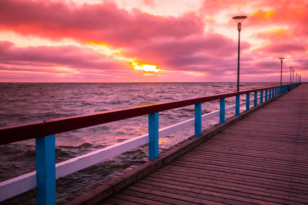 Pier and sea at sunset