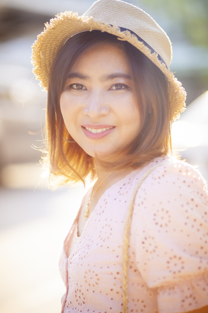 portrait of beautiful asian woman toothy smiling face happiness emotion