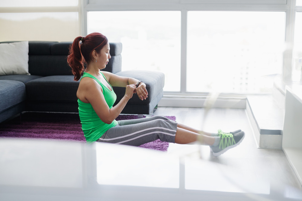 Retired old people, fitness and sports. Elderly woman working out at home. Active senior lady exercising and practicing sport in domestic gym. Recreation, leisure, recreational activity