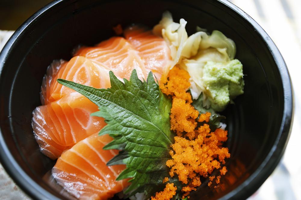 salmon raw fish  on rice japanese food style