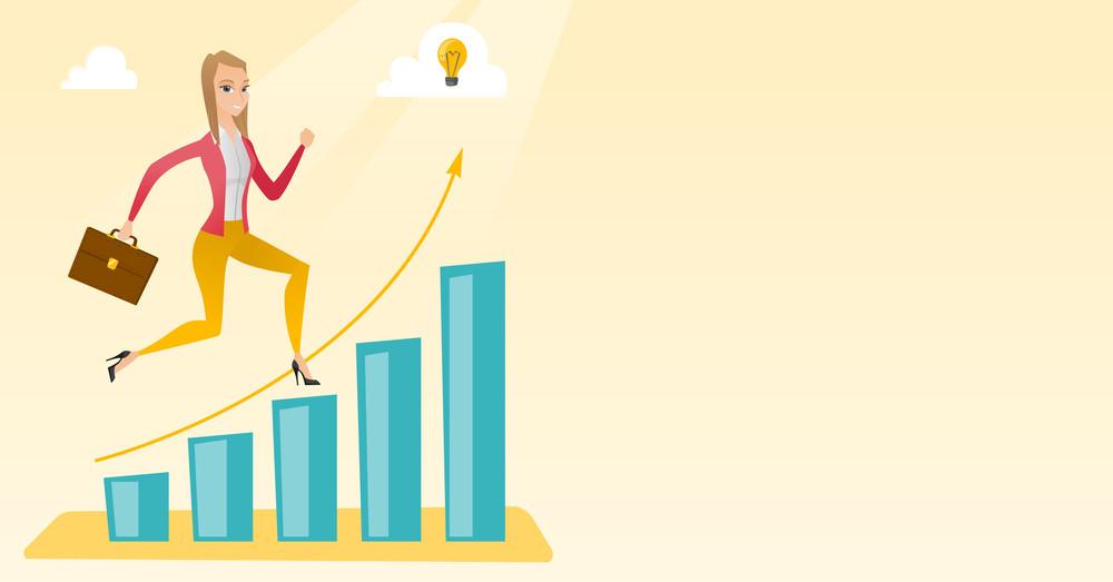 Smiling business woman standing on profit chart. Caucasian successful business woman running along the profit chart. Concept of business profit. Vector flat design illustration. Horizontal layout.