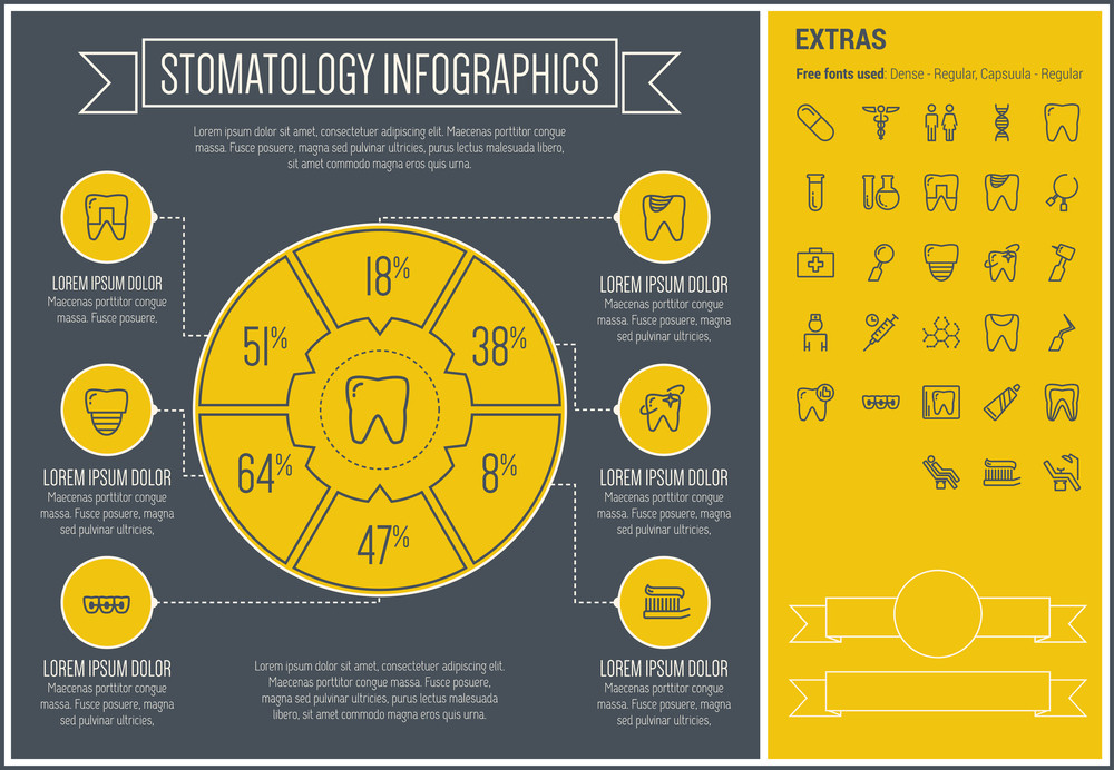 Stomatology infographic template and elements. The template includes the following set of icons - toothbrush, toothpaste, dentist chair, healthcare, specialist, basin and more. Modern minimalistic flat thin line vector design.