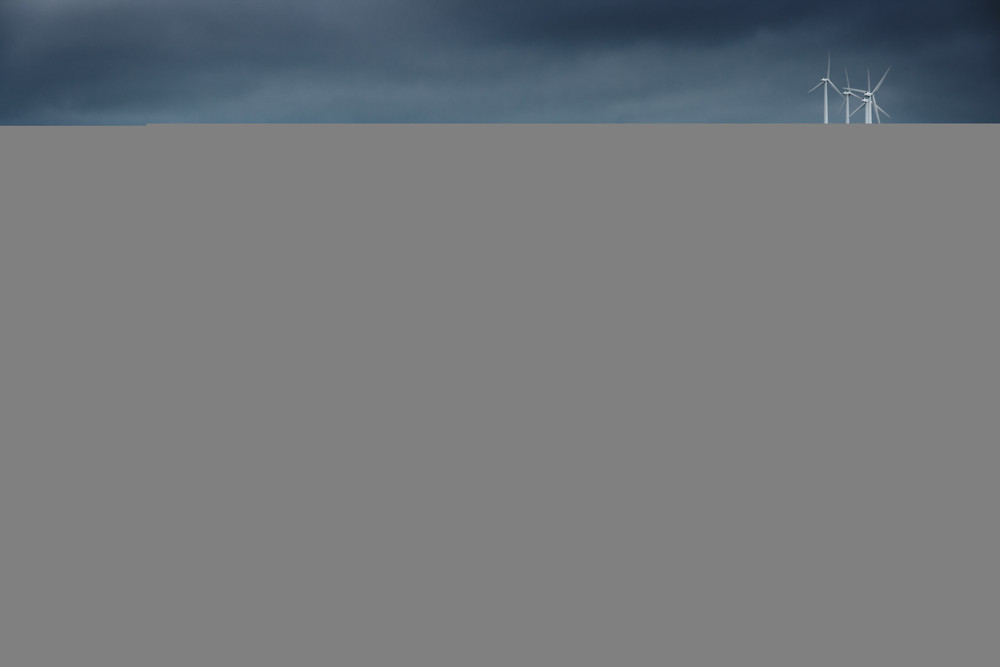 Storm approaches a wind farm