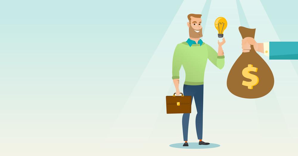 Successful businessman exchanging business idea light bulb to money bag. Businessman selling his business idea. Concept of successful business idea. Vector flat design illustration. Horizontal layout.
