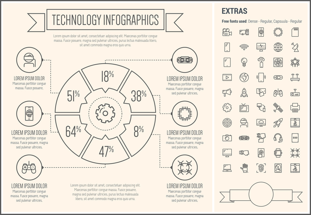 technology infographic template and elements the template includes
