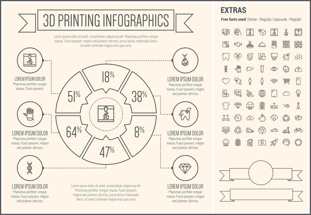 Three D Printing infographic template and elements. The template includes the following set of icons - heart, tooth, piggy bank, fax machine, cupcakes, global and more.