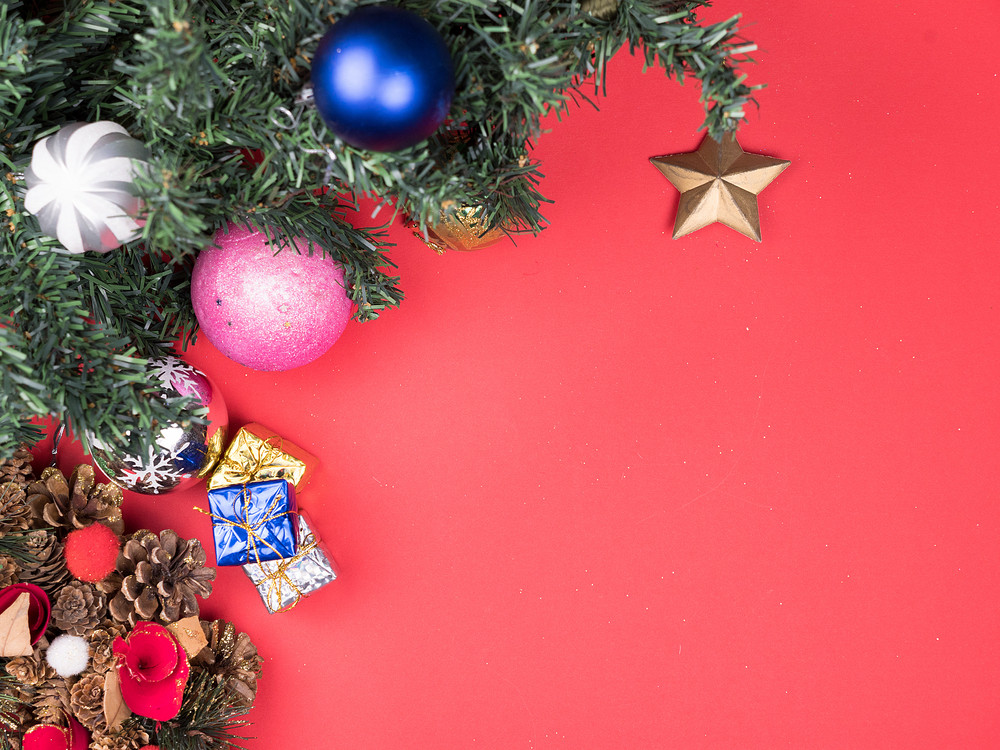 Christmas Top View.Top View Of Beautiful Christmas Wreath With Gift Boxes And
