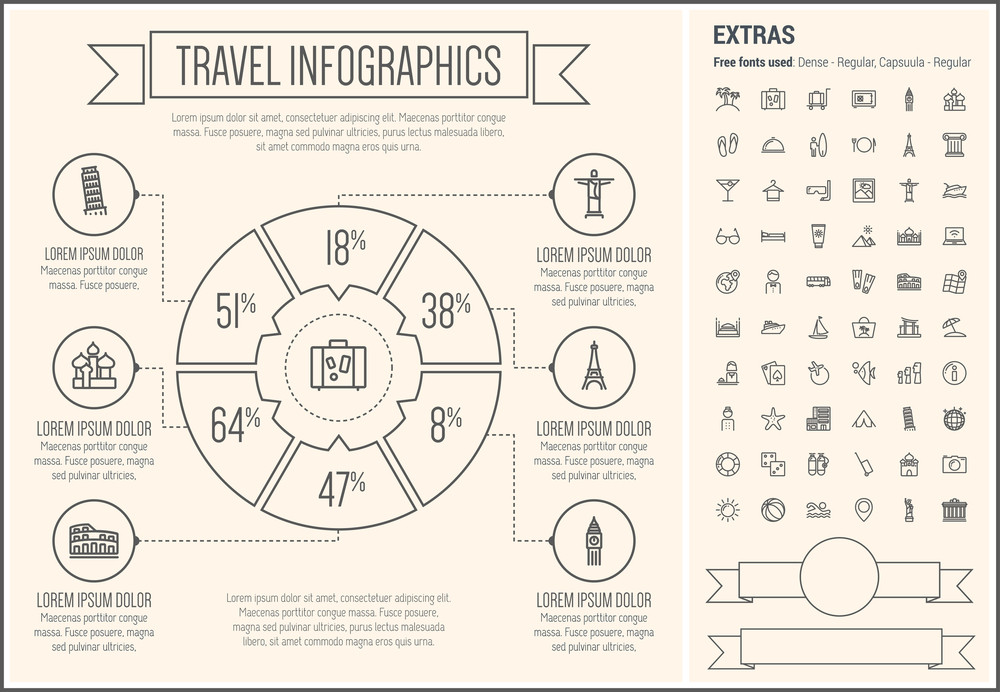 travel infographic template and elements the template includes the