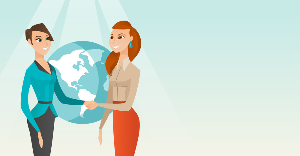 Two business partners shaking hands. Business partners handshaking after successful deal on a globe background. International business partnership. Vector flat design illustration. Horizontal layout.