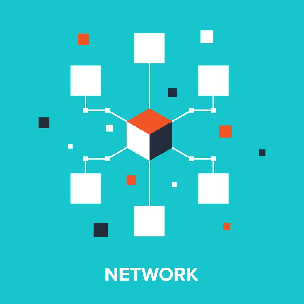 Vector illustration of computer network flat design concept.