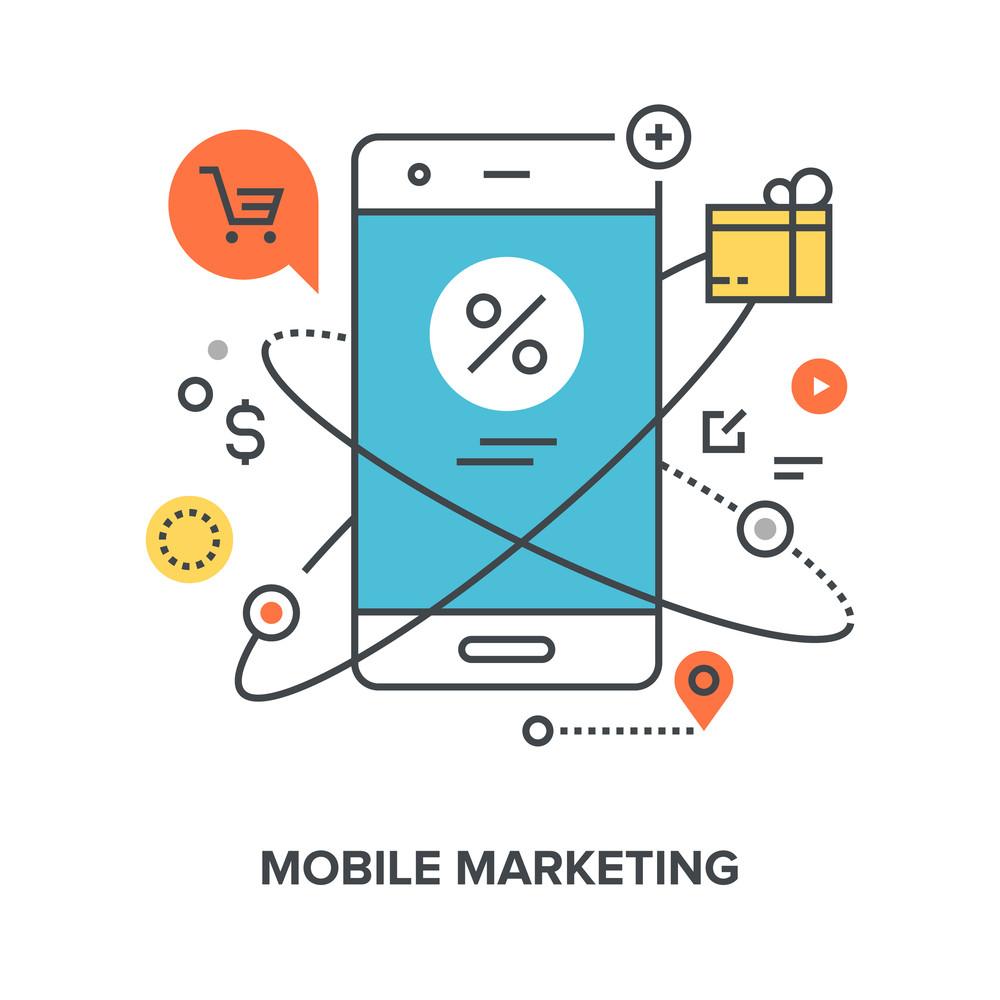 Vector illustration of mobile marketing flat line design concept.