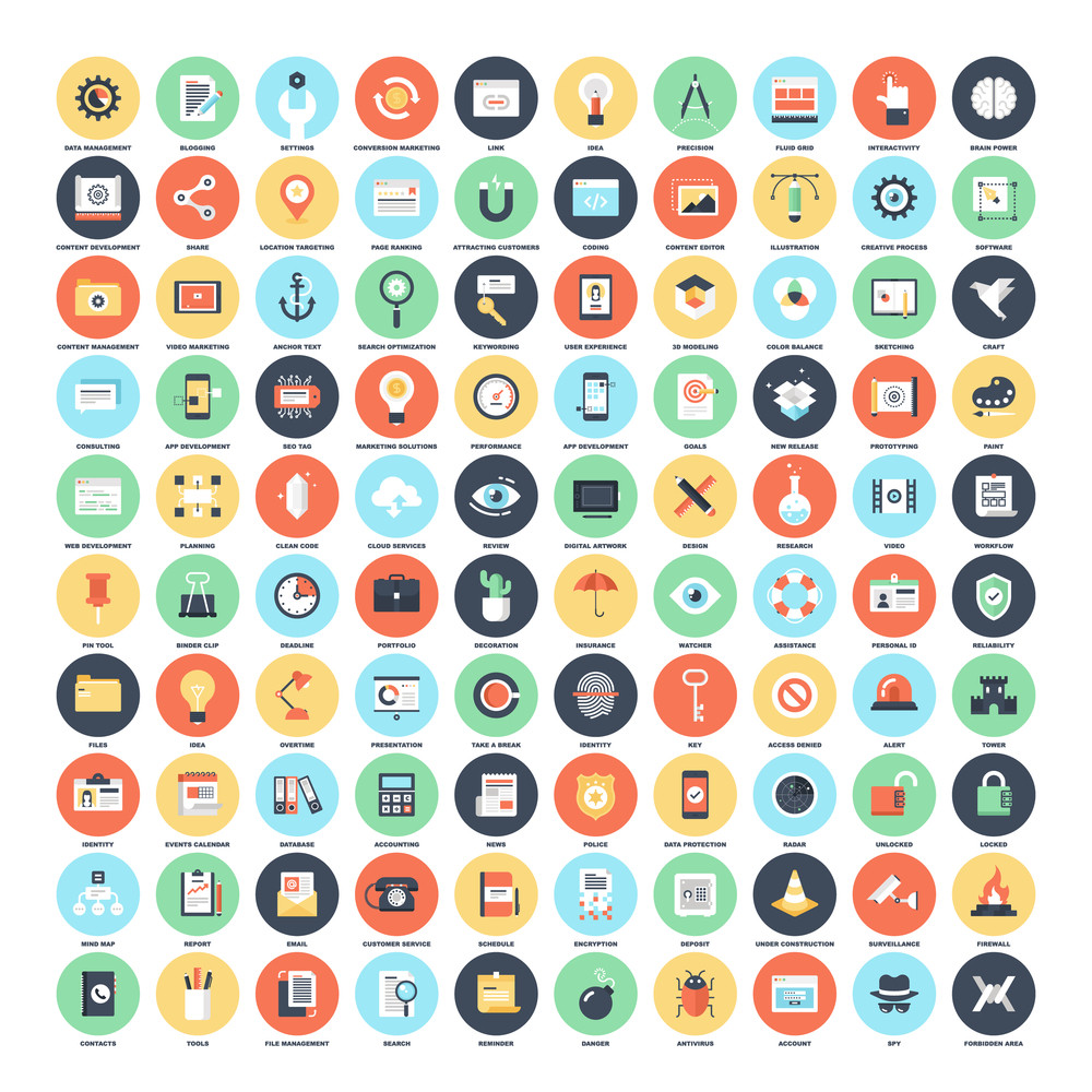 Vector set of 100 flat web icons on following themes - SEO and development, creative process, , office and business, security and protection