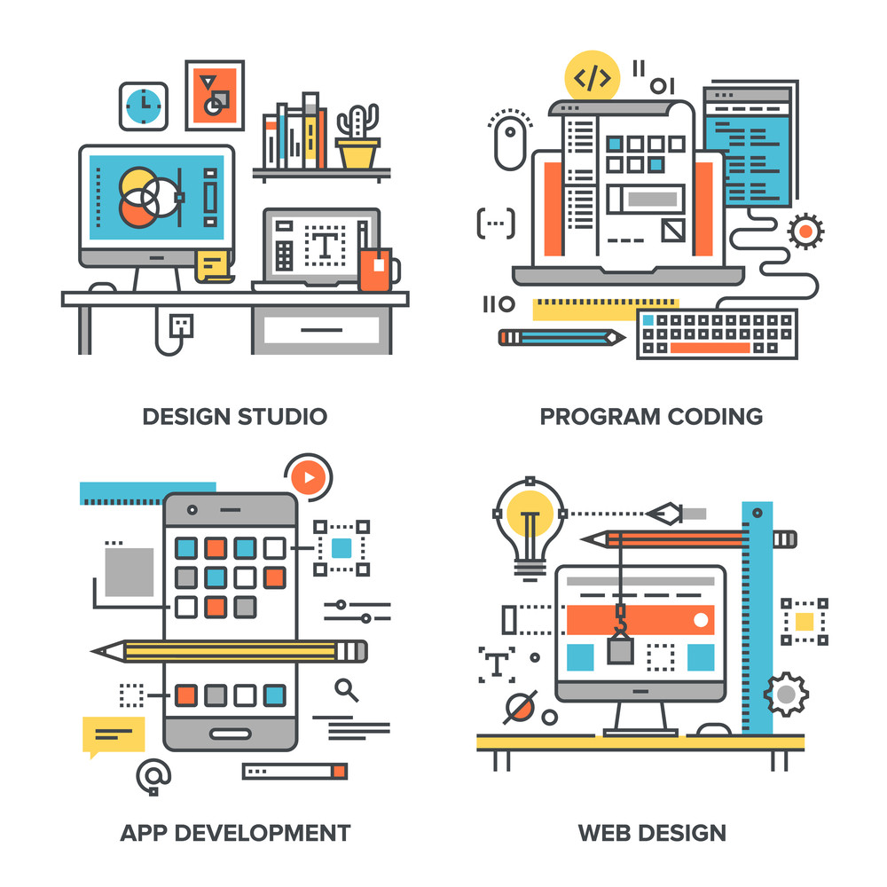 Vector set of conceptual flat line illustrations on following themes - design studio, program coding, app development, web design
