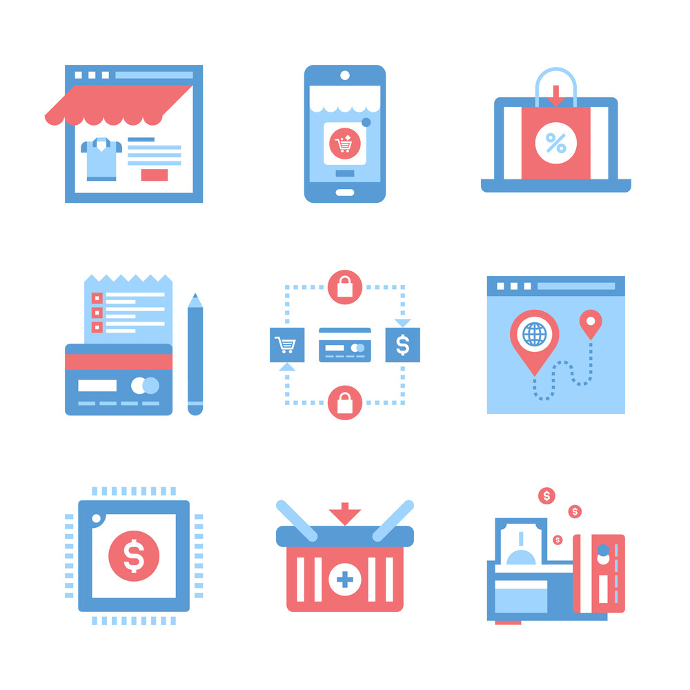 Vector set of flat digital commerce icons on following themes - webshop, mobile commerce, ecommerce, shopping list, secure transactions, navigation, digital money, add to basket, payment methods.