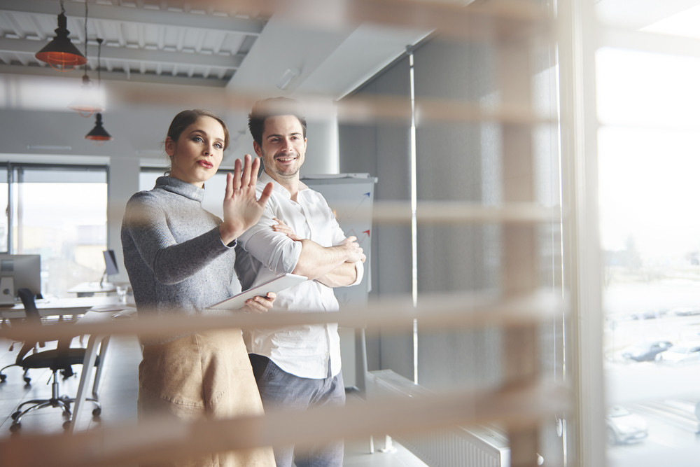View of business couple working in office