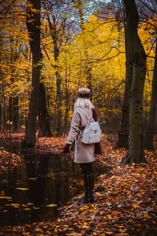 Woman enjoying the silence on the shore of autumn lake. Woman and autumn composition