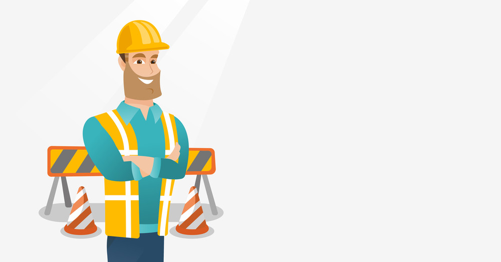 Young builder standing with arms crossed. Confident builder in hard hat. Caucasian builder in helmet standing on the background of road barriers. Vector flat design illustration. Horizontal layout.