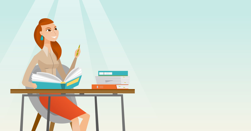 Young caucasian female student sitting at the table and thinking. Thinking student writing in exercise book. Thinking female student doing homework. Vector flat design illustration. Horizontal layout.