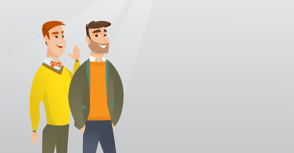 Young caucasian man shielding his mouth and whispering a gossip to his friend. Two happy men sharing gossips. Smiling friends discussing gossips. Vector flat design illustration. Horizontal layout.