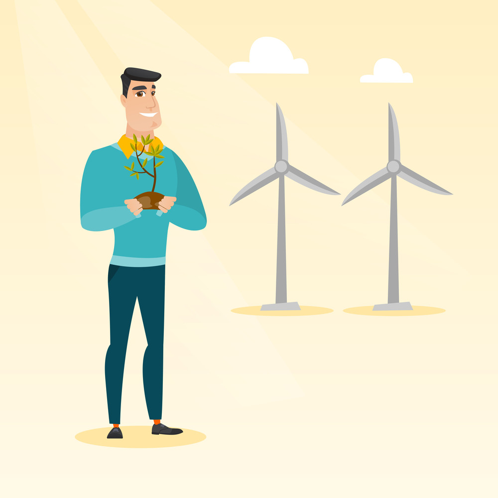 Young caucasian smiling worker of wind farm. Man holding in hands green small plant in soil on the background of wind turbines. Green energy concept. Vector flat design illustration. Square layout.