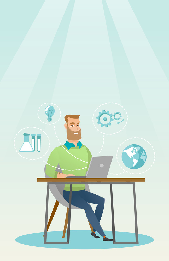Young caucasian student using laptop for education. Hipster student sitting at the table and working on a laptop. Concept of educational technology. Vector flat design illustration. Vertical layout.