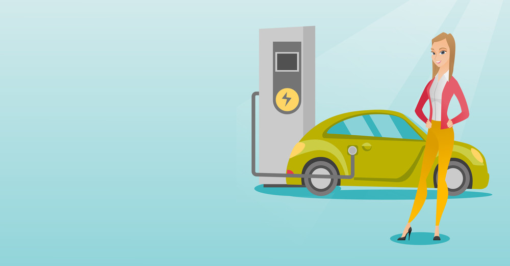 Young caucasian woman charging electric car at charging station. Girl standing near power supply for electric car charging. Charging of electric car. Vector flat design illustration. Horizontal layout
