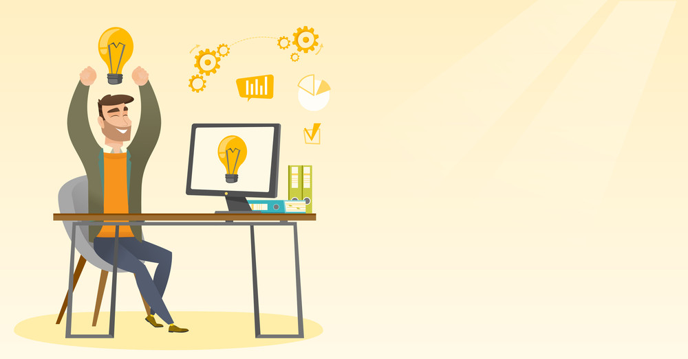 Young man with arms up got a business idea. Cheerful businessman working on a computer with business idea bulb on a screen. Business idea concept. Vector flat design illustration. Horizontal layout.