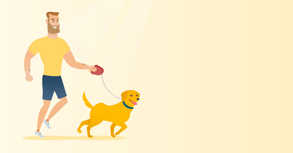 Young man with his dog. Happy hipster man with beard taking dog on walk. Caucasian man walking with small dog. Smiling man walking a dog on leash. Vector flat design illustration. Horizontal layout.