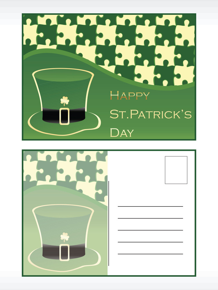 St.patrick's Day Postcard With Hat Vector