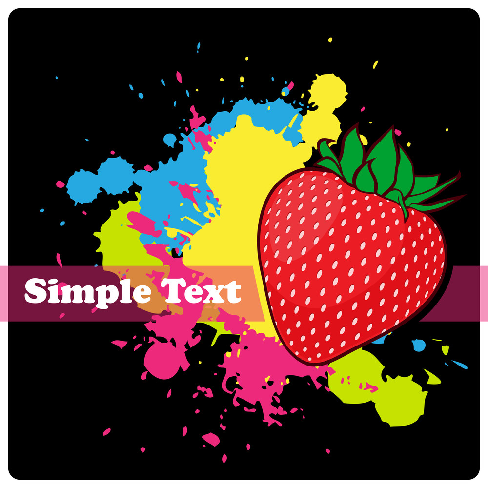 Strawberries On A Black Background With Blots. Vector Illustration.