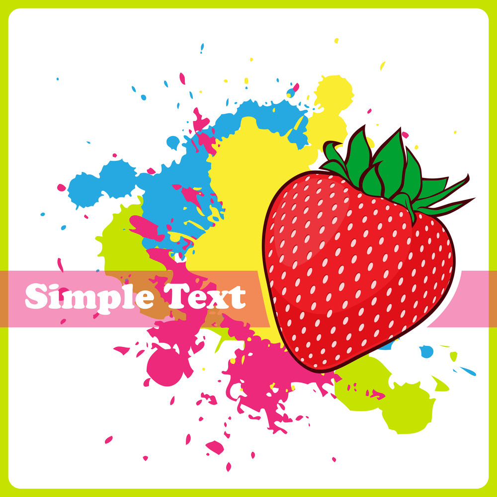 Strawberries On A Withe Background With Blots. Vector Illustration.