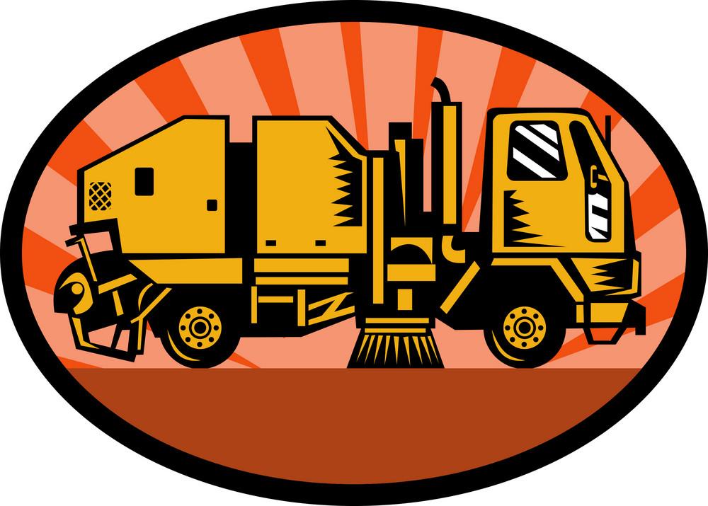 Street Sweeper Truck Side View