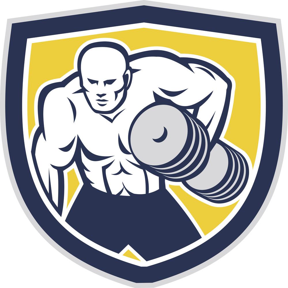 Strongman Lifting Dumbbells Front Shield Retro