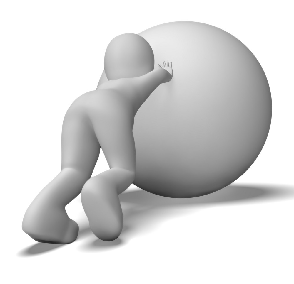 Struggling Uphill Man With Ball Shows Determination