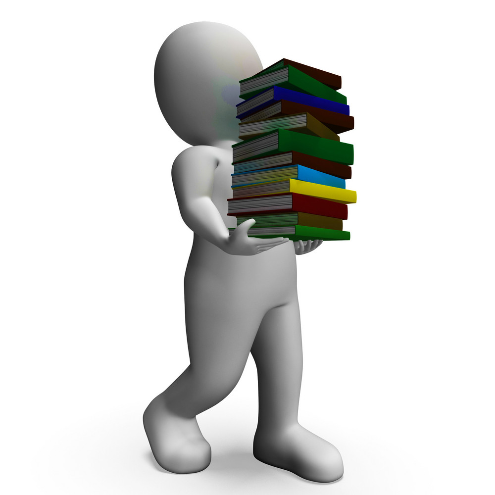 Student Carrying Books Shows Education