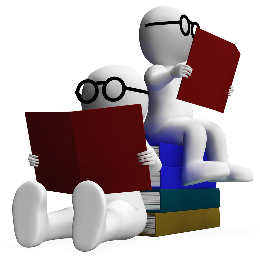 Students Reading Books Showing Academic