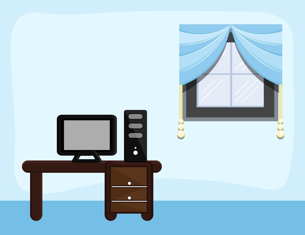 Study Room - Cartoon Background Vector