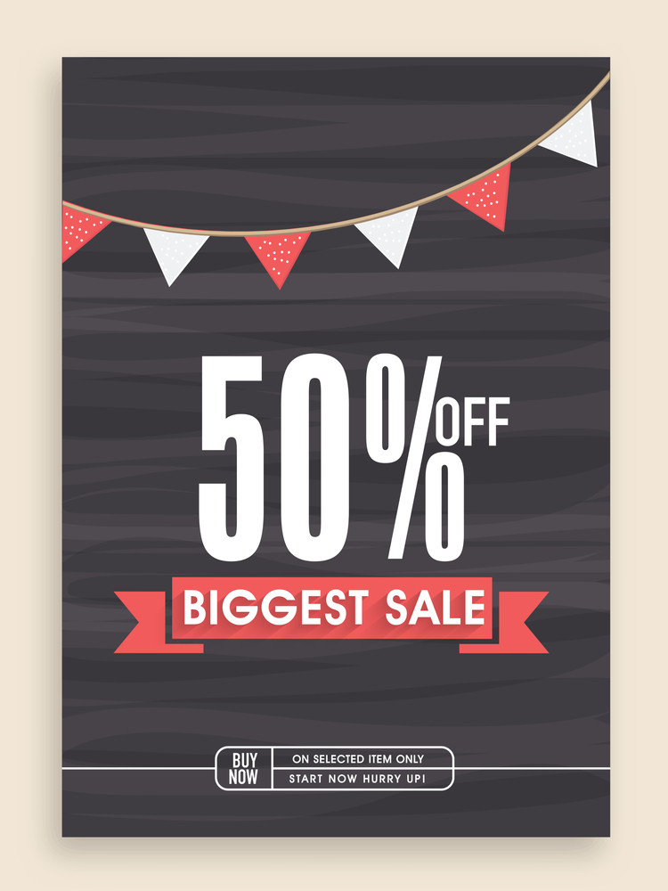 Stylish Biggest Sale poster banner or flyer design with discount offer.