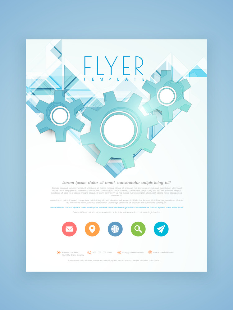 Stylish Business Flyer Template Or Brochure Design With D Gears And - 3d brochure template