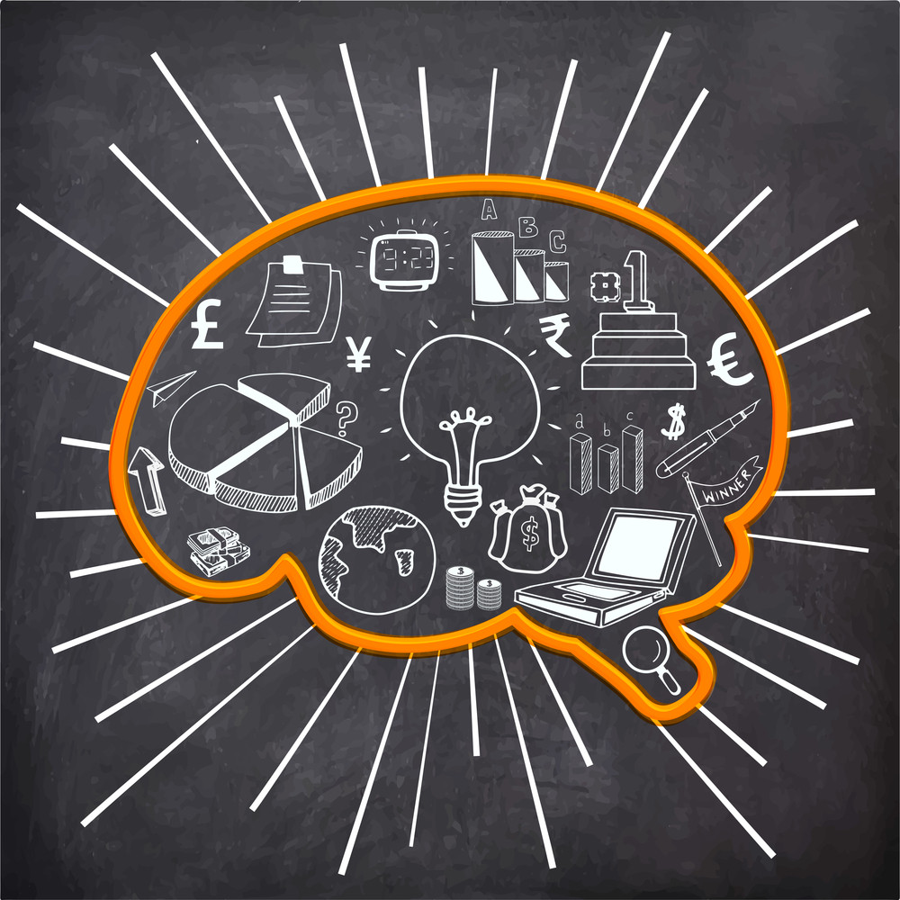 白粉筆在大腦形狀黑板背景理念的概念創造了時尚的商務信息圖表元素。