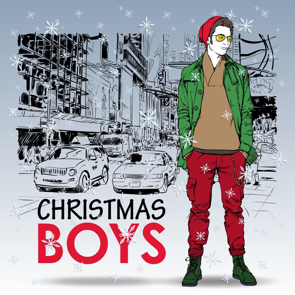Stylish Christmas Boy On A Street Background. Vector Illustration