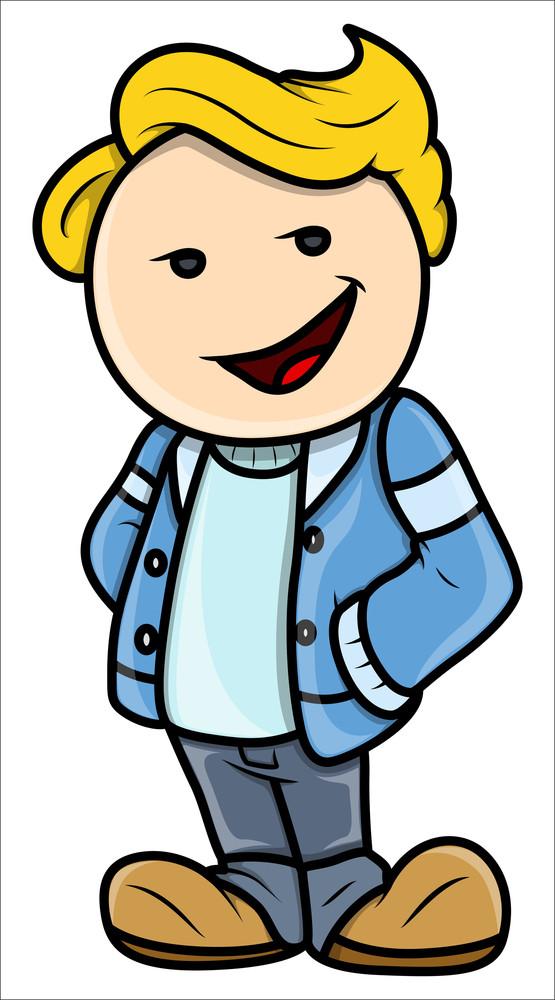 Stylish Cute Teen Boy - Vector Cartoon Illustration