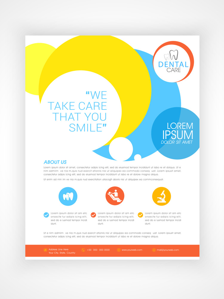 Azure Flyer Template | Stylish Dental Care Flyer Template Or Brochure Design With Medical